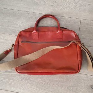 Men's J Crew Leather Tote Bag with removable strap